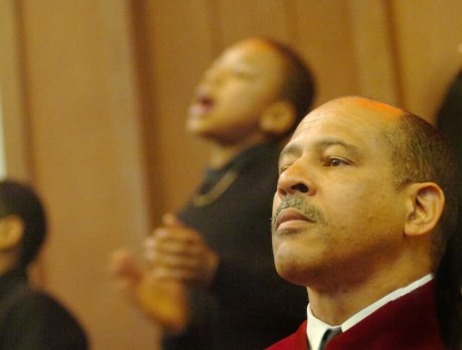 The Rev. Dr, Jeffrey A. Ingraham at the Sunday service of Calvary Baptist Church. hour photo/matthew vinci