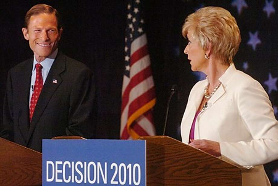 Candidates for Connecticut Senator, attorney general Richard Blumenthal and republican Linda McMahon, battle it out during the senatorial debate at Continental Manor in Norwalk Thursday morning. Hour photo / Erik Trautmann