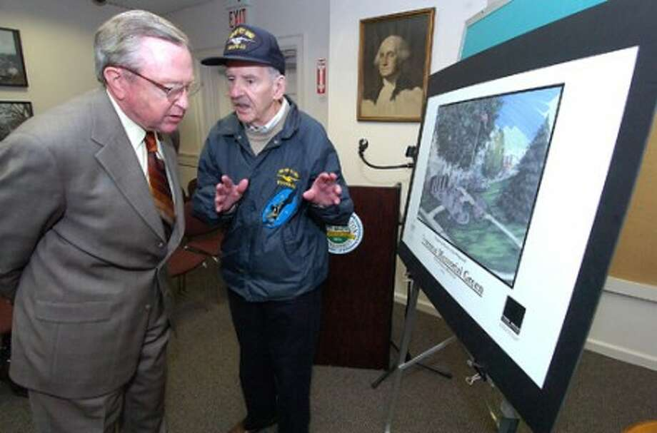 Photo/Alex von Kleydorff. WWII Navy Veteran Don Klotz talks with Wilton First Selectman Bill Brennan as Klotz''s idea for a Fallen Veterans Memorial is becoming a reality in Wilton Center.