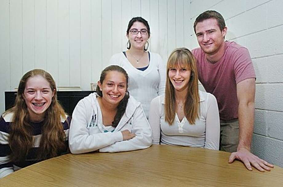 Norwalk High School students that have been neamed National AP scholars for having scored well on their advanced placement exams, from left, Marianne Sparan, Lorena Ferlazza, Meagan Henry Donielle Streuli and Ricky Joslyn . hour photo/matthew vinci