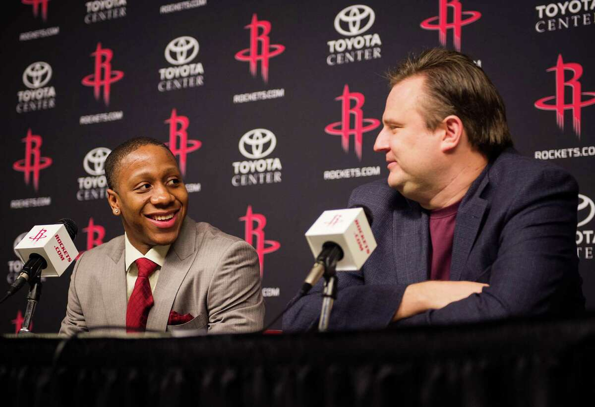 Isaiah Canaan, the 34th pick of the NBA draft, laughs with Houston Rockets general manager Daryl Morey during a press conference at Toyota Center on Friday, June 28, 2013, in Houston. ( Smiley N. Pool / Houston Chronicle )