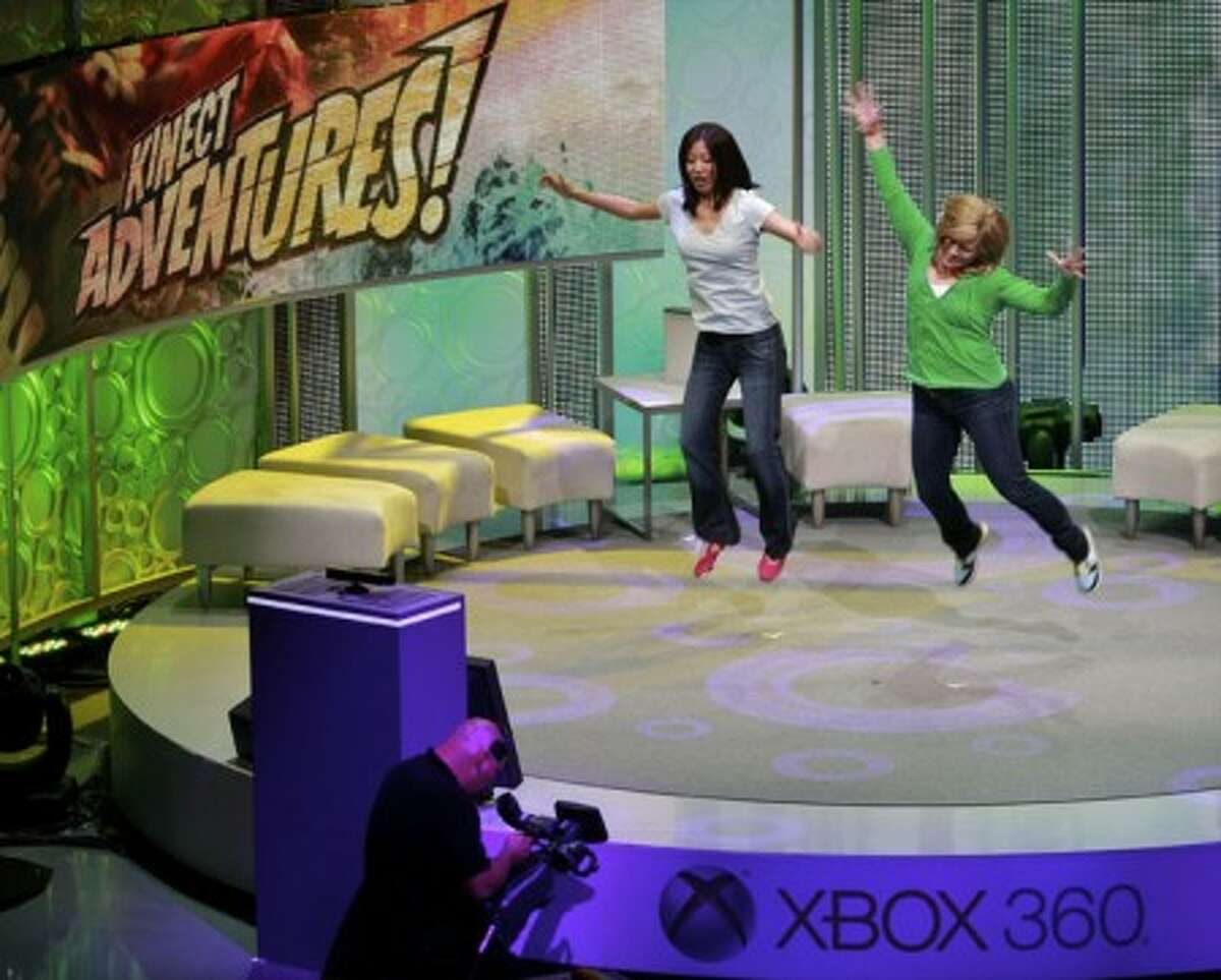 Microsoft live demonstration of its new Kinect video game interactivity technology during the 2010 Xbox 360 media briefing at the Wiltern Theater on Monday, June 14, 2010, in Los Angeles. (AP Photo/Damian Dovarganes)