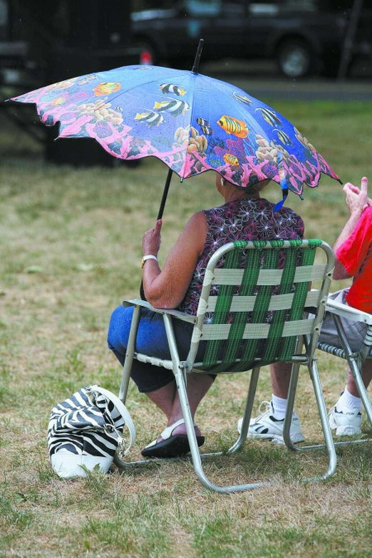 A concert goer stays dry with an umbrella during a performance by Deja Vu on the Norwalk Town Green Sunday afternoon. Hour Photo / Danielle Robinson