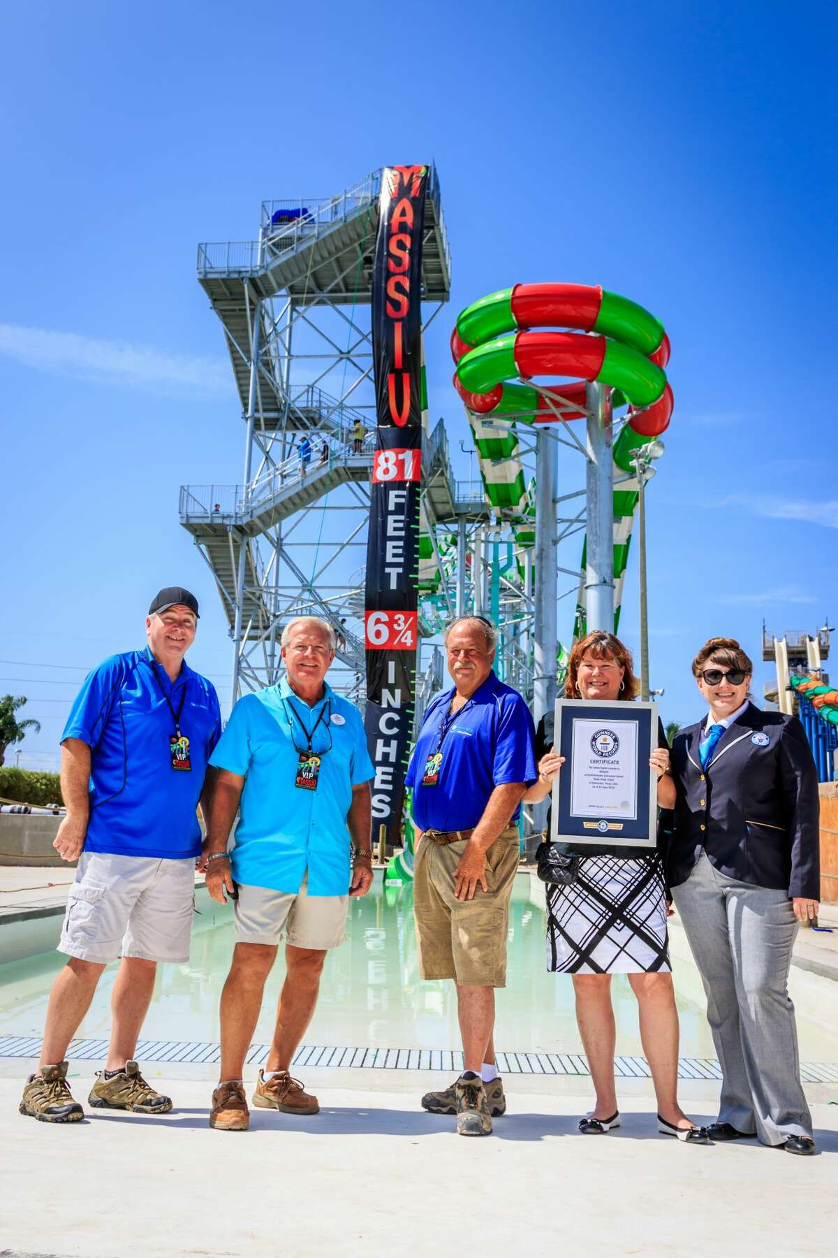 On Thursday representatives from Guinness are verified that Schlitterbahn Waterpark's MASSIV water coaster in Galveston is the world's tallest water coaster at just over 81 feet in height.