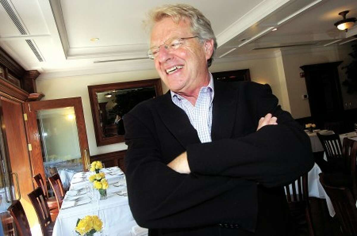 File Photo/Alex von Kleydorff. Jerry Springer enjoys a laugh after having lunch at Ferrante in Stamford.