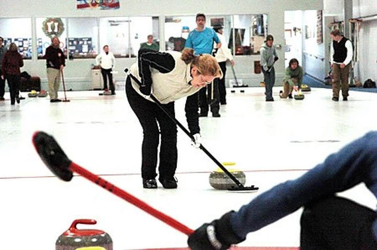 Sabrina Keillor competes at the Nutmeg Curling Club in Bridgeport on Thursday. hour photo/matthew vinci