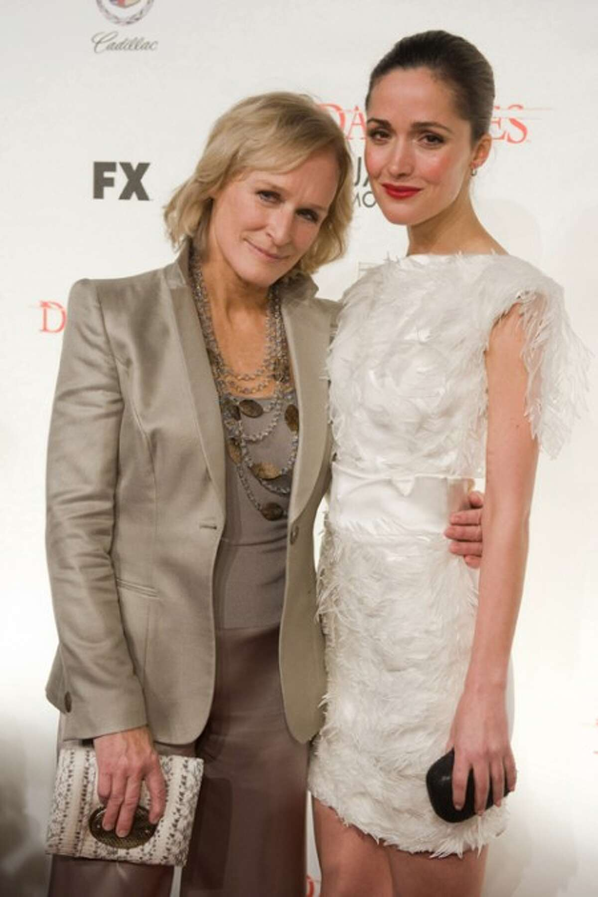 """FILE - In this Jan. 19, 2010 file photo, Glenn Close, left, and Rose Byrne attend the premiere screening for season three of FX''s legal thriller """"Damages"""" in New York. (AP Photo/Charles Sykes, file)"""