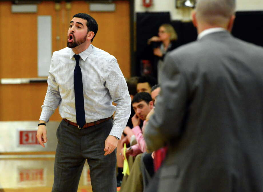 Stamford head Coach Jay Melzer during boys high school basketball action against Trumbull in Trumbull, Conn., on Wednesday Feb. 17, 2016. Photo: Christian Abraham / Hearst Connecticut Media / Connecticut Post