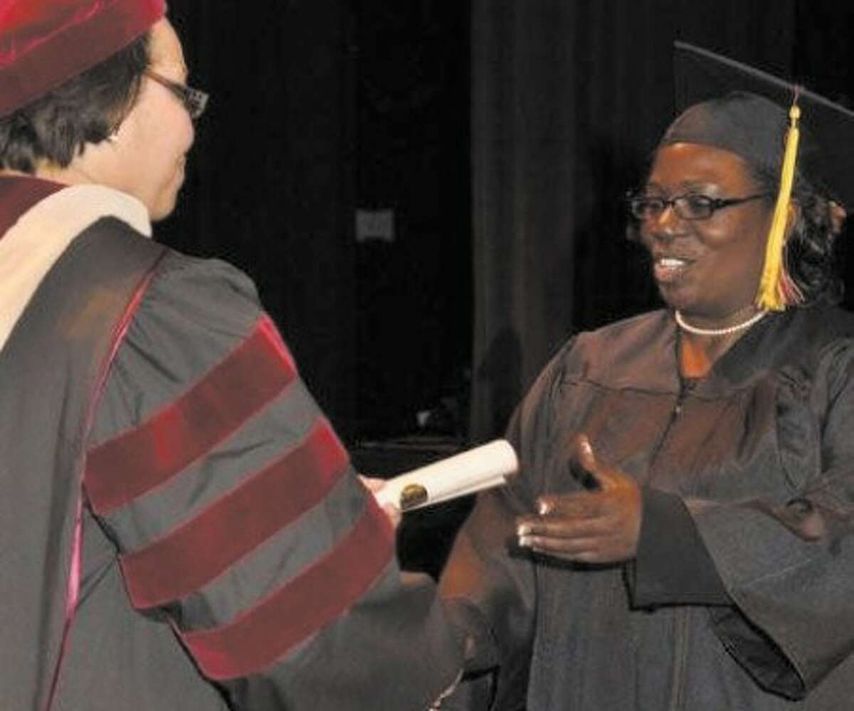 Stamfordite Gloria Jackson receives her associates degree from the University of Phoenix. Contributed photo.