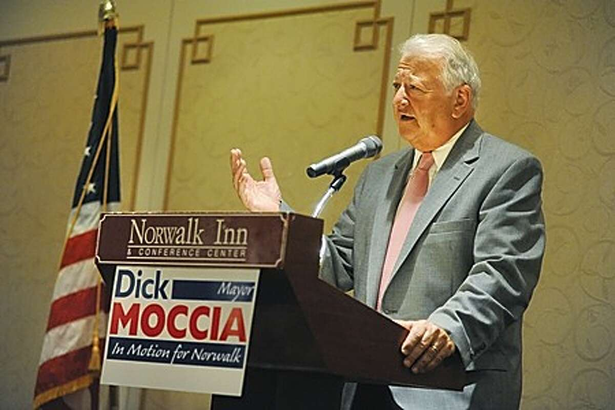 Norwalk Mayor Richard Moccia announces his bid for a fourth term to the Republican Town Committee Monday at the Norwalk Inn and Conference Center. hour photo/matthew vinci