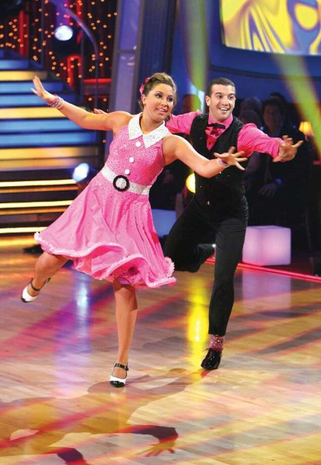 "** ADVANCE FOR USE THURSDAY, DEC. 23, 2010 AND THEREAFTER ** FILE - In this Monday, Oct. 18, 2010 image released by ABC, Bristol Palin, left, and her partner Mark Ballas perform during the celebrity dance competition television series ""Dancing with the Stars"" in Los Angeles. (AP Photo/ABC, Adam Larkey)"