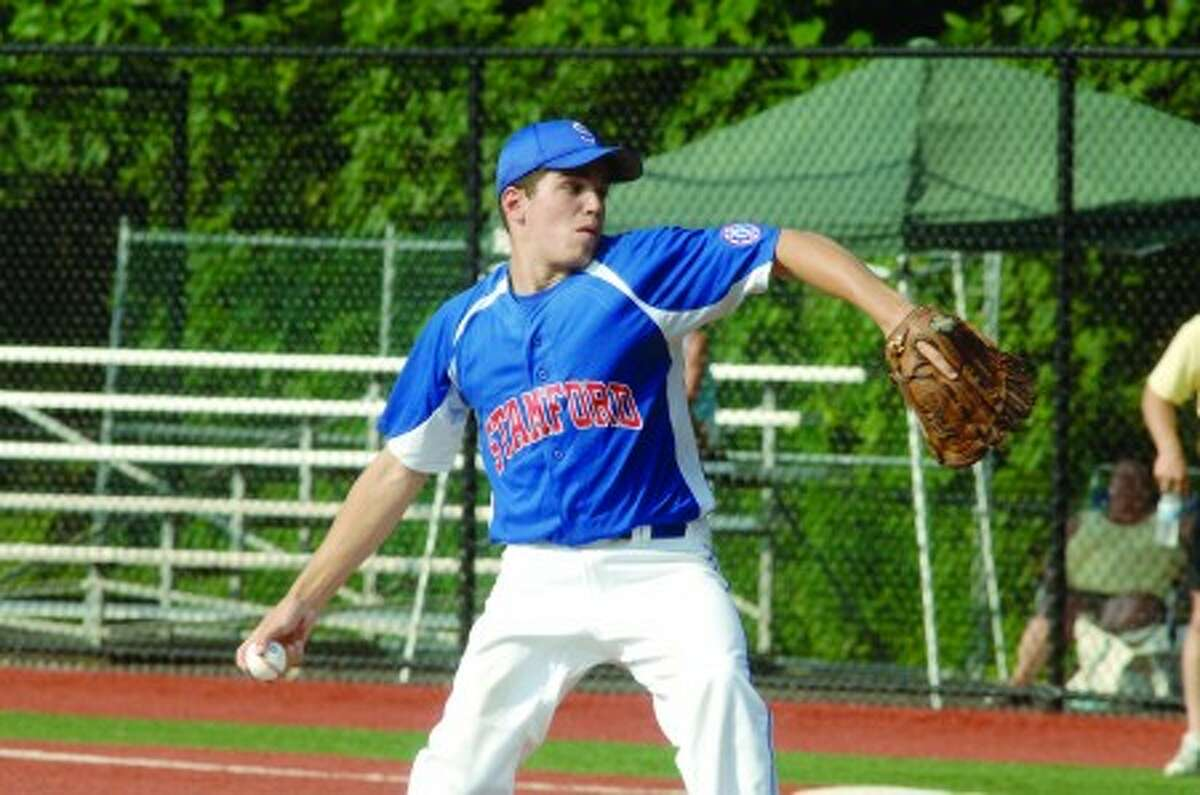 Stamford 15-year-old All-Star pitcher Kevin Epp is about to throw to the plate against Darien in the Babe Ruth District 1 Tournament on Tuesday, July 6. Photo by Matthew Vinci