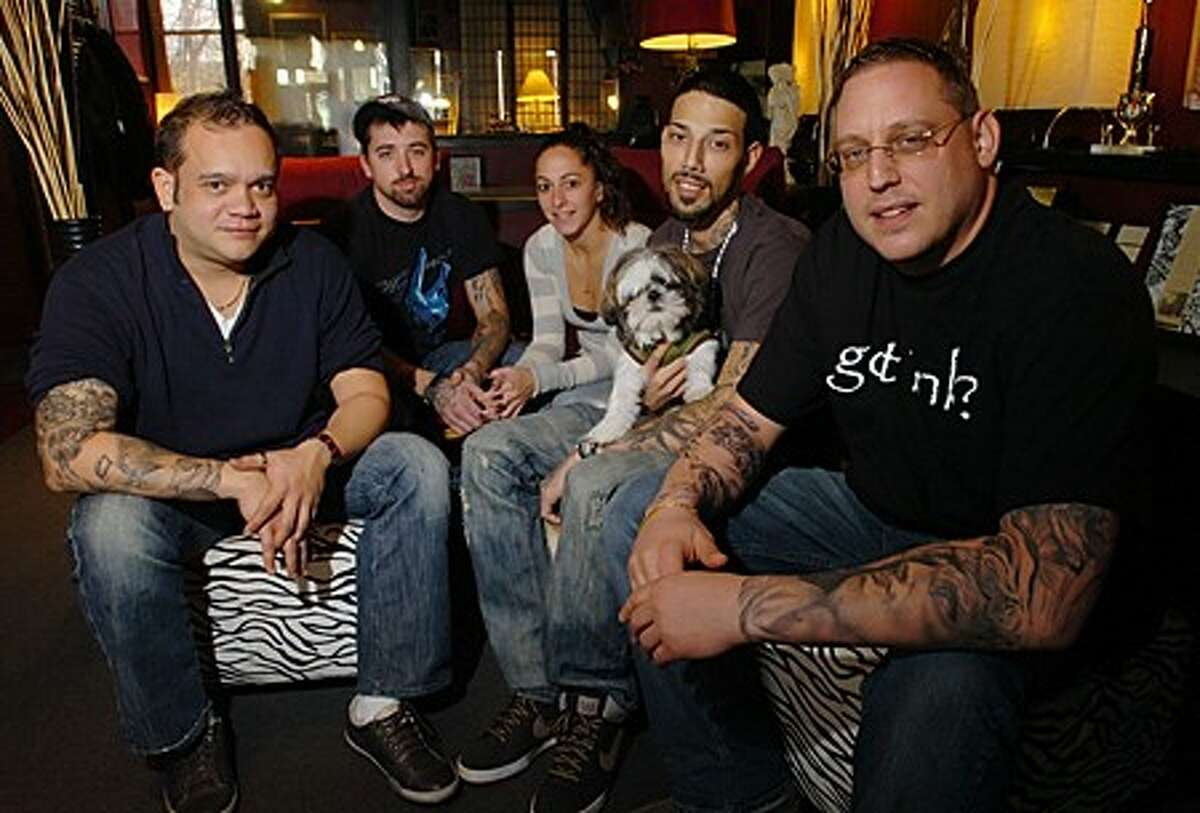 Javier Eastman, Anthony Neave, Kelly Sanders, George Reyes and owner Josh Glasser of Ink Side Out Tattoo. The Norwalk parlor will be will hold a benefit Saturday Novemer 27th where all the proceeds from that day will go to the Norwalk Hospital Children''s Center. Hour photo / Erik Trautmann