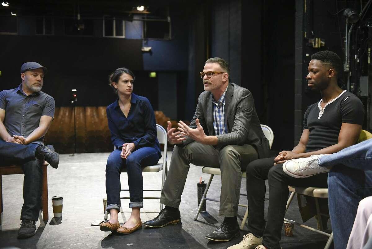 Jon Tracy (left), Noelle Viñas, Christopher Kelly and Rotimi Agbabiaka talk about TheatreFirst.