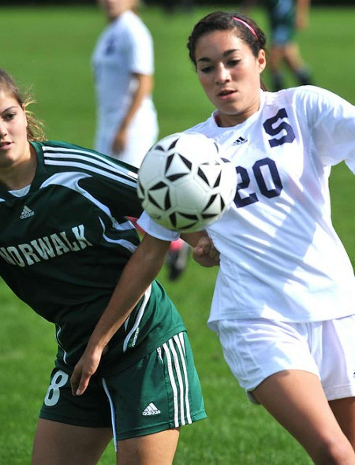 Photo/Alex von Kleydorff. Staples #20 and Norwalks #8 girls soccer at Staples