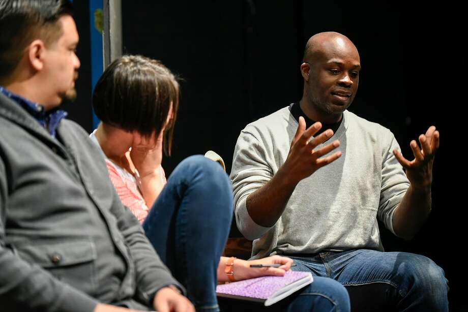 """Cleavon Smith, whose """"Vs."""" is one of TheatreFirst's four plays next season, and other artists and board members of the company discuss their vision at Live Oak Theatre in Berkeley. Photo: Michael Short, Special To The Chronicle"""