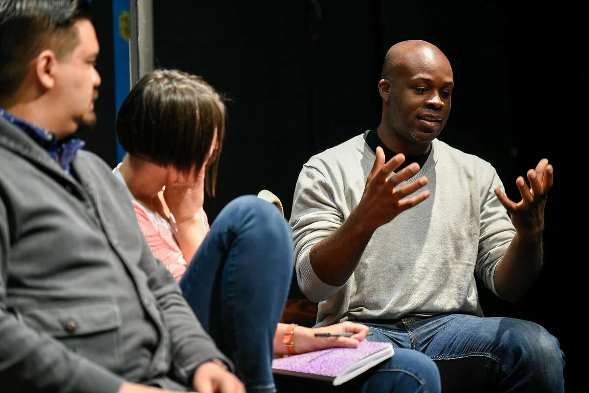 Cleavon Smith talks with other members of the TheatreFirst company as they discuss their future vision during a meeting at the Live Oak Theater in Berkeley, CA Thursday, June 16, 2016.