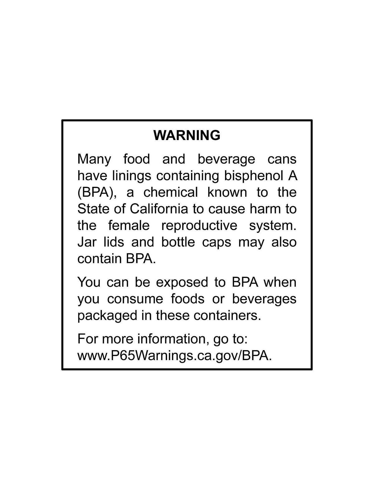 California's Proposition 65 requires businesses to determine if they must provide this general warning about exposures to listed chemicals.