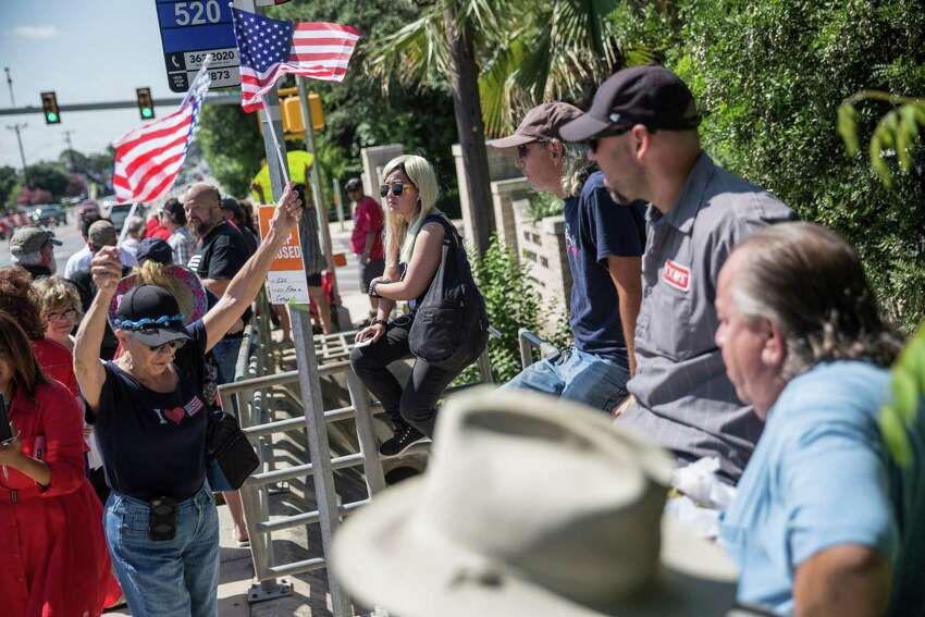 San Antonio, Texas -- June 17, 2016 -- People supporting Republican presidential candidate Donald Trump's visit to San Antonio gathered near his private fundraiser at Oak Hills Country Club. Ray Whitehouse/for the San Antonio Express-News