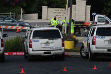 Law enforcement and traffic control sets up Friday June 17, 2016 in front of the Oak Hills Country Club before Republican presidential candidate Donald Trump visits San Antonio for a fund raising event.