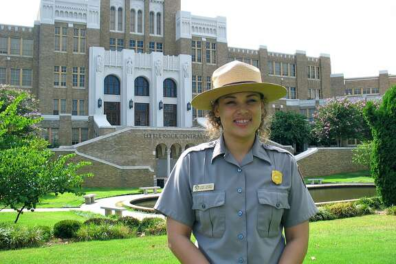 National Park Service Ranger Spirit Trickey takes visitors on tours of Little Rock Central High School in Little Rock, Ark. Her mother was one of the Little Rock Nine who integrated the school in 1951 under the protection of   101st Airborne Division soldiers.