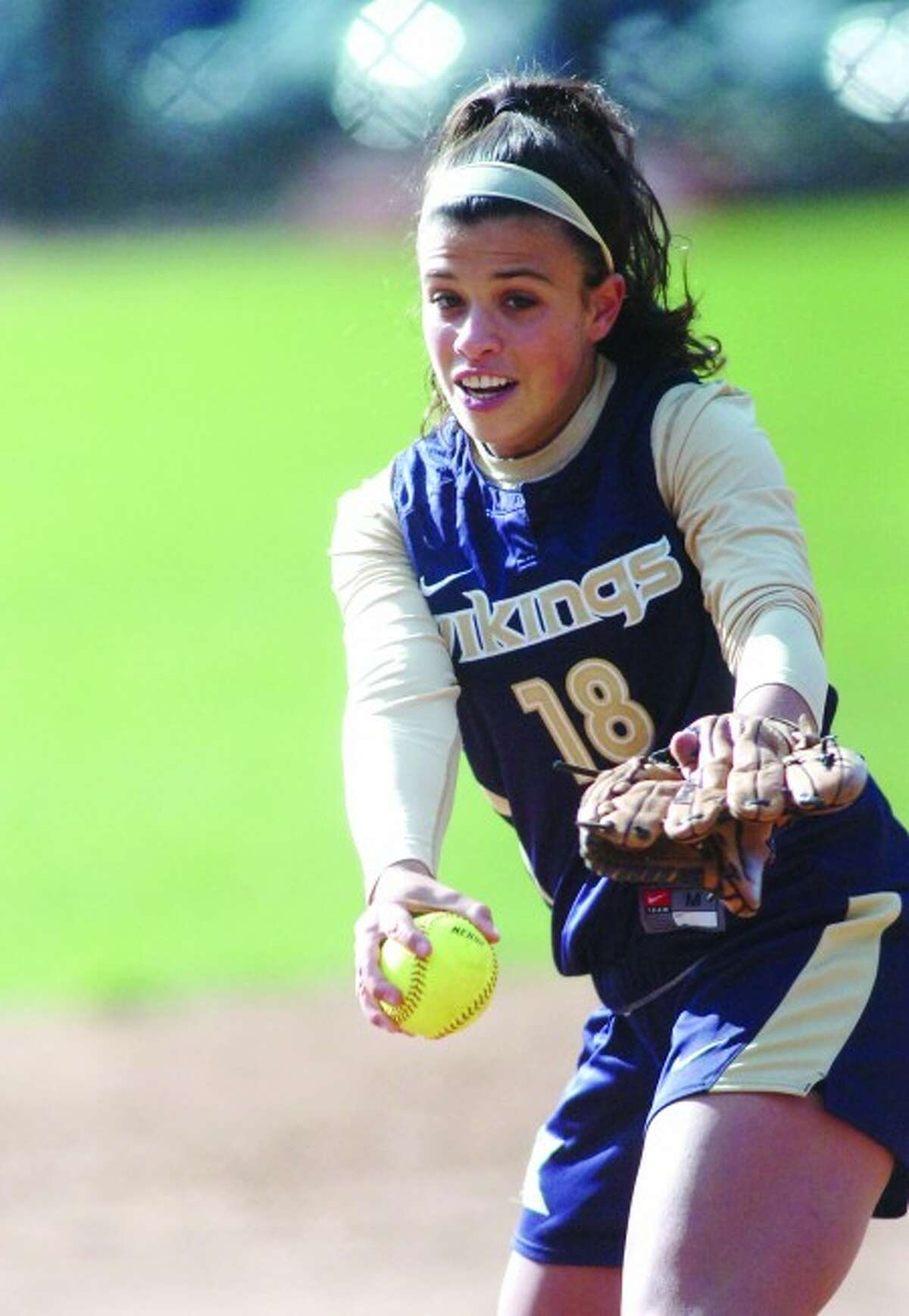 King softball pitcher Kaitlyn Della Jacono pitched a one-hitter with 11 strikeouts in the Vikings'' 6-2 win over Greenwich Academy on Monday, April 19. Times photo/Matthew Vinci