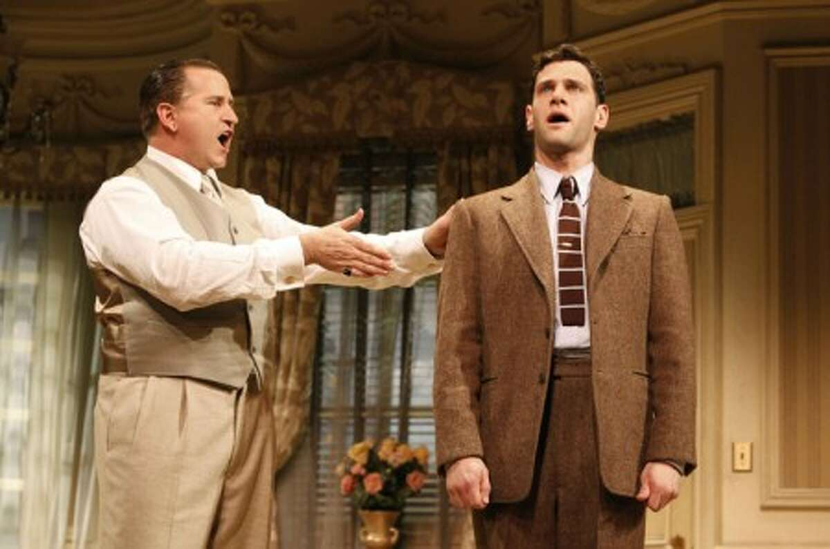 """Anthony LaPaglia, left, and Justin Bartha in a scene from the revival of Ken Ludwig''s """"Lend Me a Tenor, at Broadway''s Music Box Theatre in New York. (AP Photo/Boneau/Bryan-Brown Public Relations, Joan Marcus)"""
