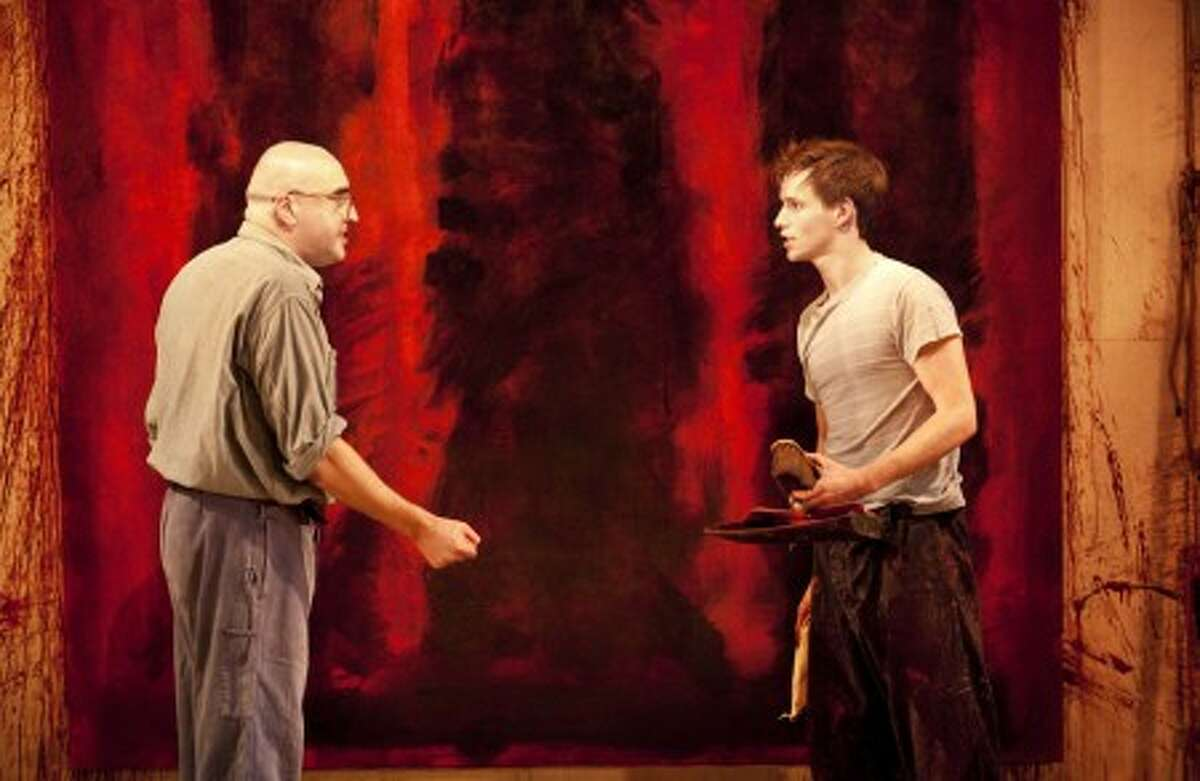 """In this 2009 publicity image released by Boneau/Bryan-Brown, Alfred Molina portrays Mark Rothko, left, and Eddie Redmayne portrays Ken in a scene from the Donmar Warehouse production of John Logan''s """"Red,"""" now playing at Broadway''s Golden Theatre in New York. (AP Photo/Boneau/Bryan-Brown, Johan Persson)"""