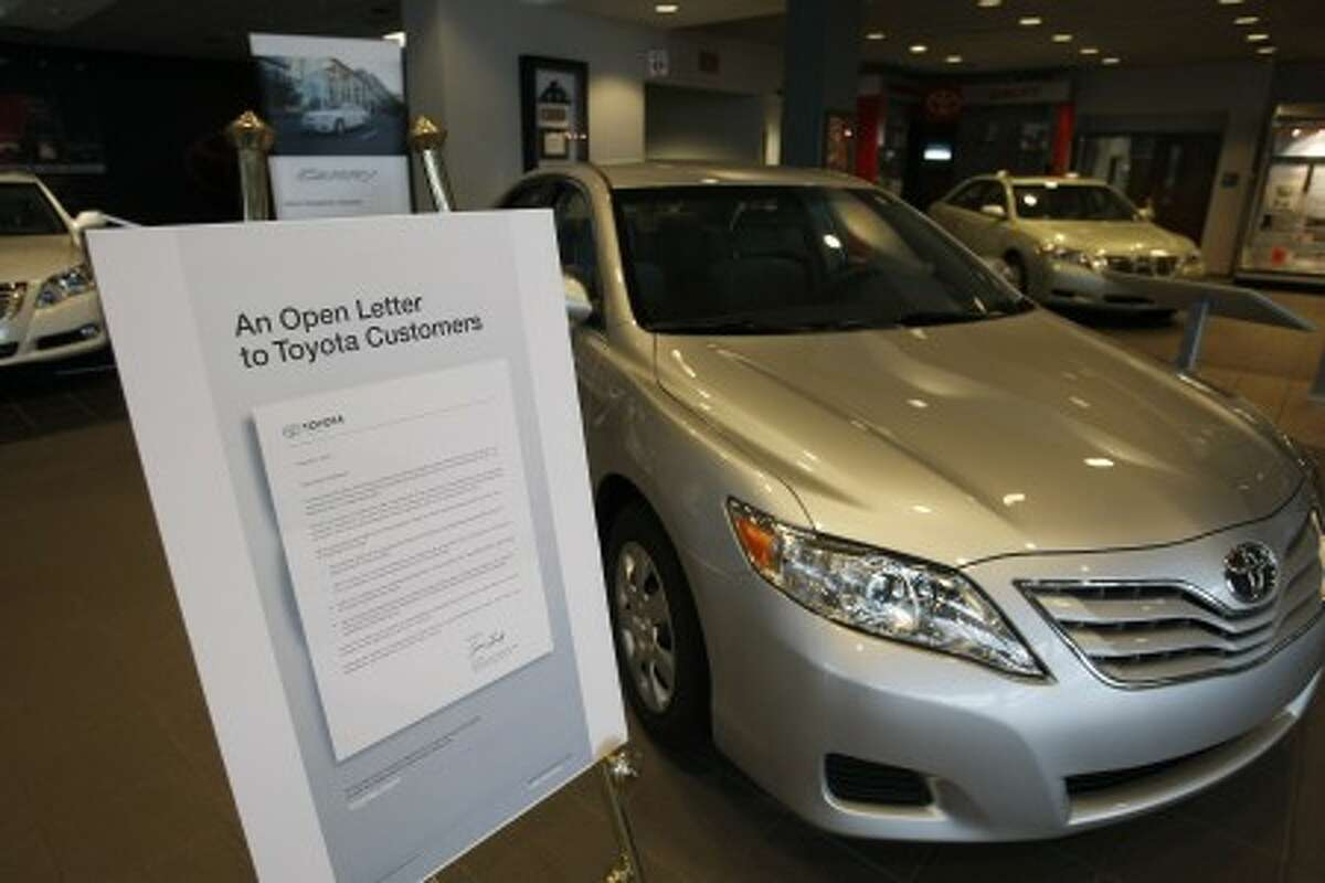 The open letter that was sent to Toyota owners is displayed in the visitor center at the Toyota Motor Manufacturing, Kentucky plant in Georgetown, Ky., Thursday, Feb. 18, 2010. (AP Photo/Ed Reinke)