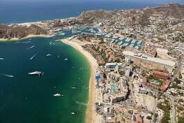 (GERMANY OUT) Harbour of Cabo San Lucas and Medano Beach, Cabo San Lucas, Baja California Sur, Mexico  (Photo by Reinhard Dirscherl/ullstein bild via Getty Images)