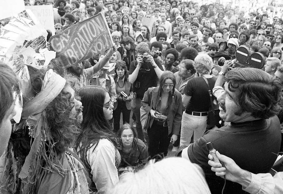June 25, 1972: The first San Francisco gay pride parade ended at the City Hall steps. Photo: Greg Peterson, The Chronicle
