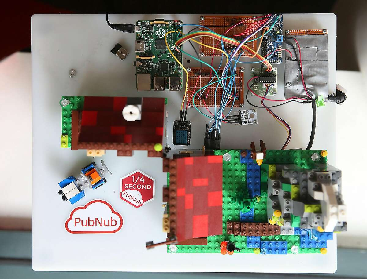 A Lego structure that has a sensor attached tracking temperature and humidity data and wirelessly streams the information at PubNub on Thursday, June 16, 2016 in San Francisco, Calif.