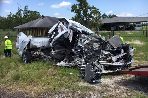 Two people died after a white Ford truck crossed the center dividing line on Texas 105 in Liberty County and hit two vehicles, according to the Texas Department of Public Safety. The victims were passengers in the Ford.