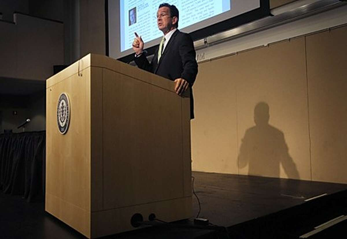 Gubernatorial candidate Dan Malloy speaks at The Stamford Chamber of Commerce