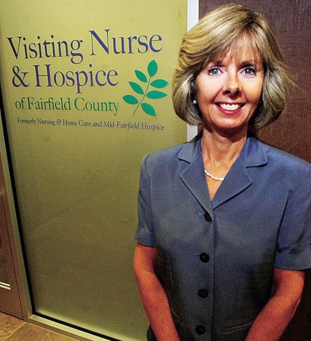Sharon Bradley, CEO of Visiting Nurse & Hospice of Fairfield County. After working closley together for years Nursing & Home Care and Mid-Fairfield Hospice have recently merged into a single entity now called Visiting Nurse & Hospice of Fairfield County. Hour photo / Erik Trautmann