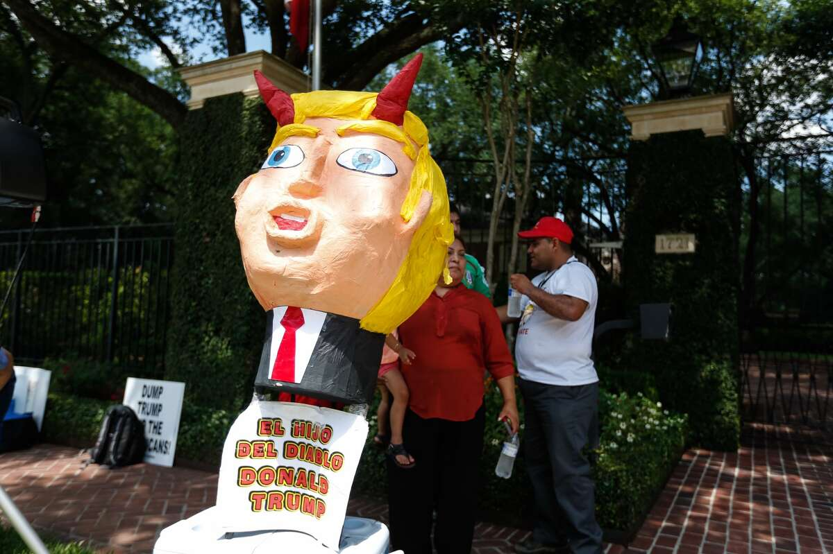 Donald Trump protesters during his visit to Houston on Friday, June 17, 2016.