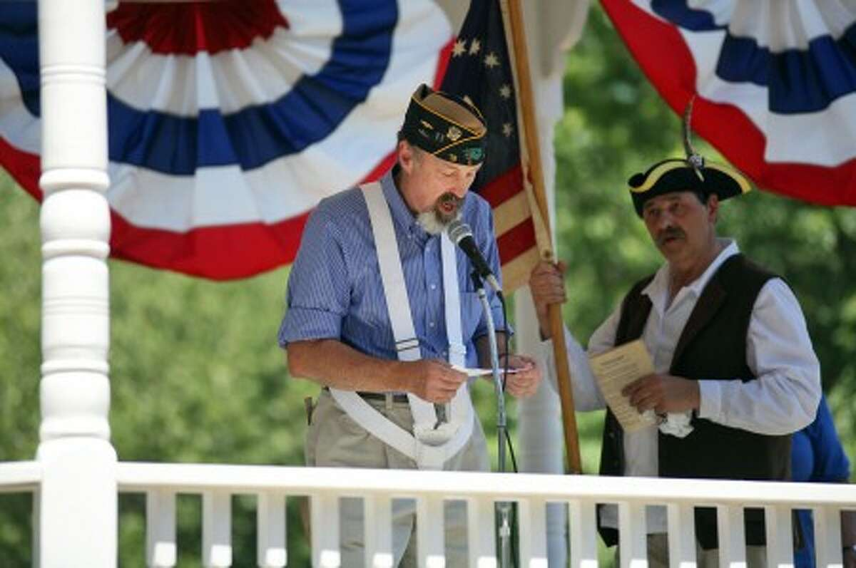 Harding Dies speaks about the 4th of July on the Gazebo at Norwalk''s Town Green Sunday afternoon. Hour Photo / Danielle Robinson