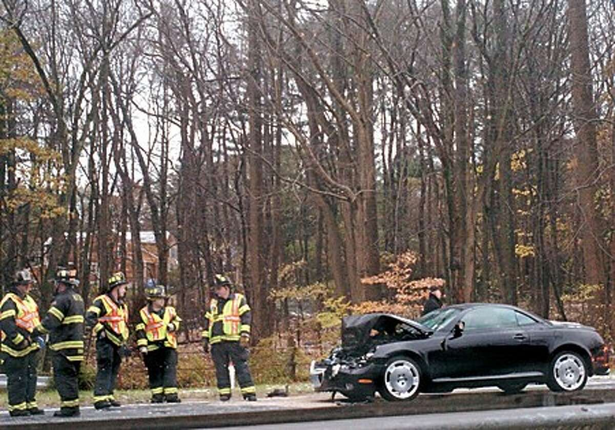 Sleet and high winds caused accidents involving multi vehicles northbound on the Merrit Parkway at exit 41 during the morning commute. hour photo/matthew vinci