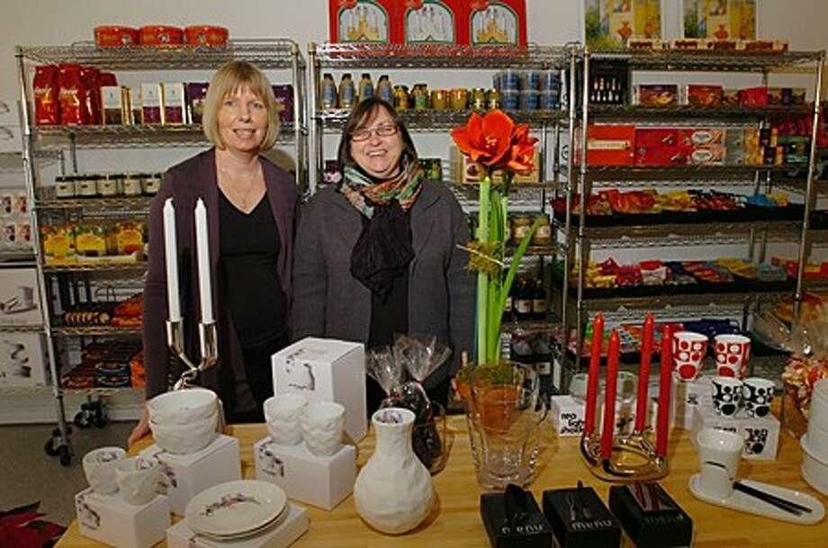Doris Levine and Marianne Beresford, owners of the new Wilton shop, Scadinavian Butik, on Danbury Rd. Hour photo / Erik Trautmann