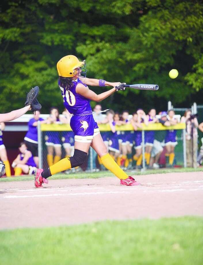 Westhill''s Brittany Horn hits a double against Trumbull during the FCIAC Softball Championship game at Sacred Heart University on Thursday, May 27. Times photo/Danielle Robinson