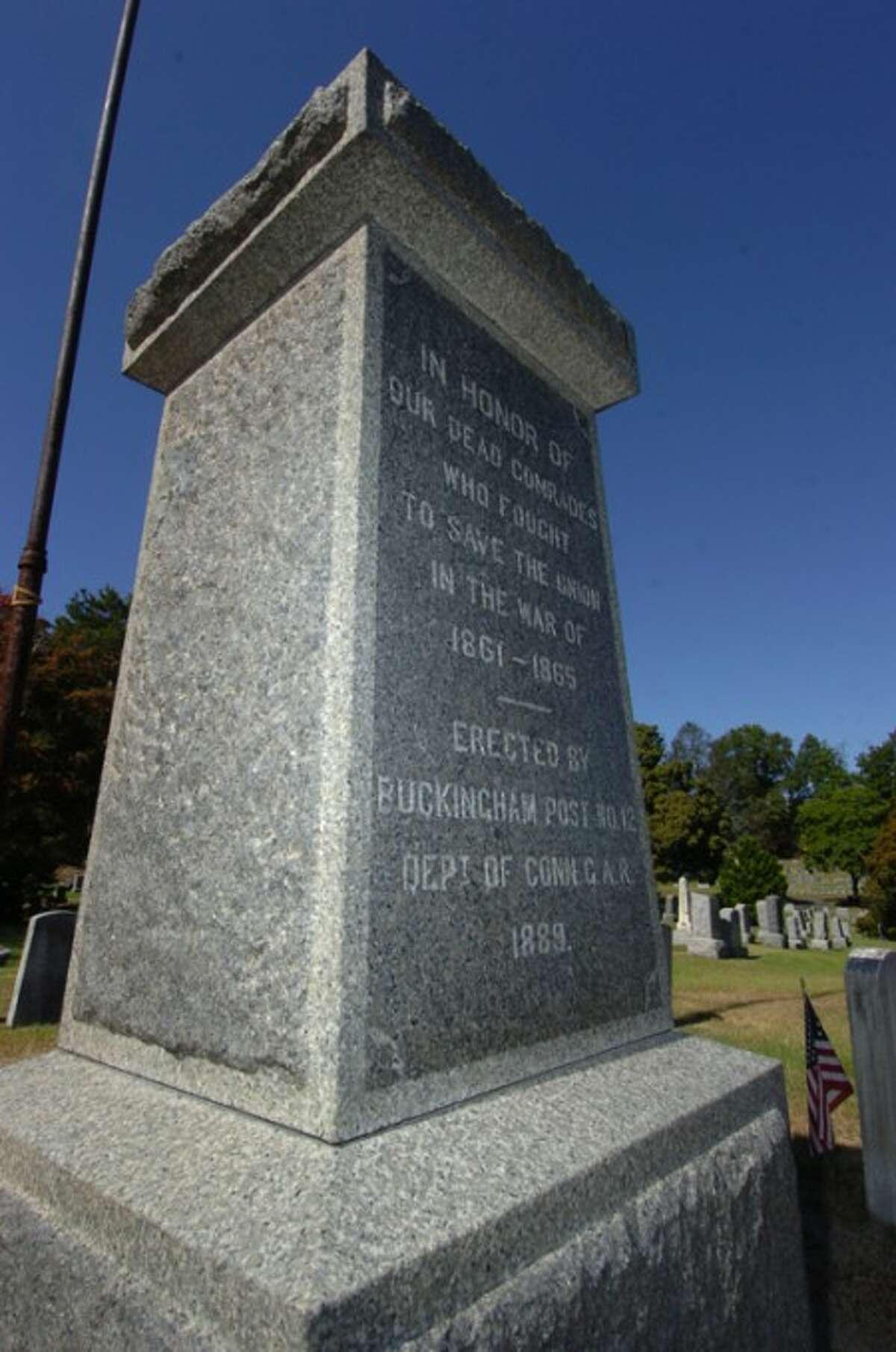 Photo/Alex von Kleydorff. The pedestal where the Civil war statue stood before it was vandalized in Riverside Cemetery.