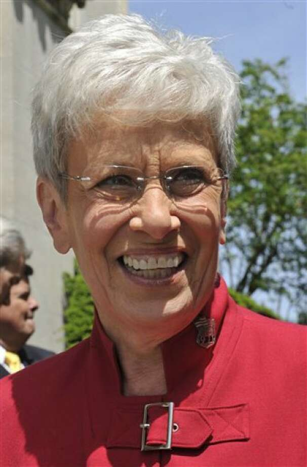 State Comptroller Nancy Wyman stands outside the Capitol in Hartford, Conn., Tuesday, May 11, 2010. Former Stamford Mayor and Democratic gubernatorial candidate Dan Malloy has tapped Wyman as his running mate. (AP Photo/Jessica Hill)