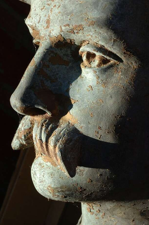 Photo/Alex von Kleydorff. The Head of the Civil War statue that was vandalized in Riverside Cemetery.