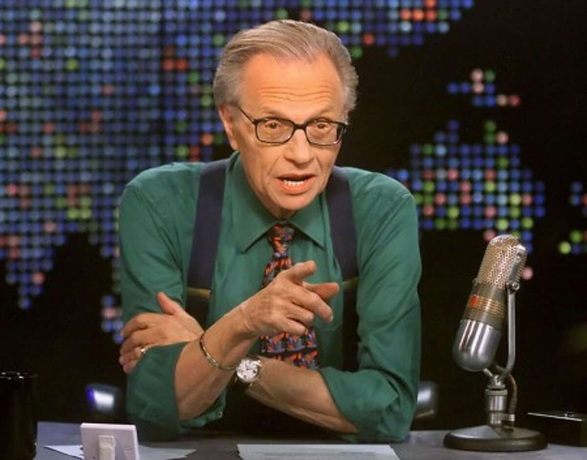 Talk show host Larry King is shown on the set of his program
