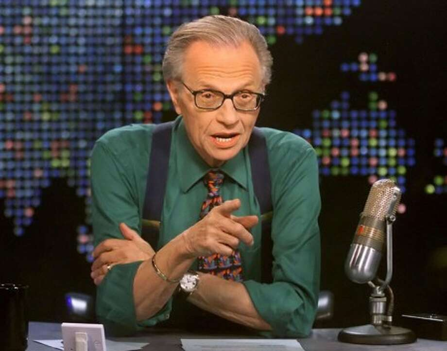"Talk show host Larry King is shown on the set of his program ""Larry King Live"" at the CNN studios in Los Angeles. (AP Photo/CNN, Rose M. Prouser, File)"