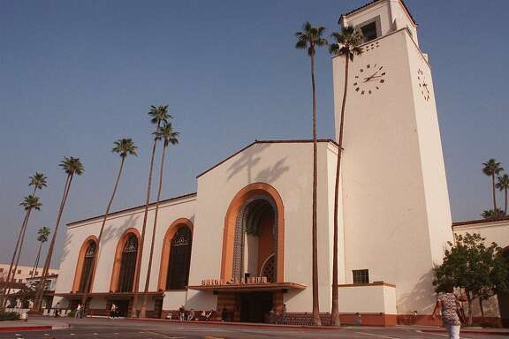 ADVANCE FOR WEEKEND  FEBRUARY 7-8--Union Station, shown Jan. 17, 1998, in Los Angeles, is the last grand urban train station built in America and the only one on the West Coast. It provides a historical backdrop to the sprawling, traffic-clogged city.  (AP Photo/E.J. Flynn)