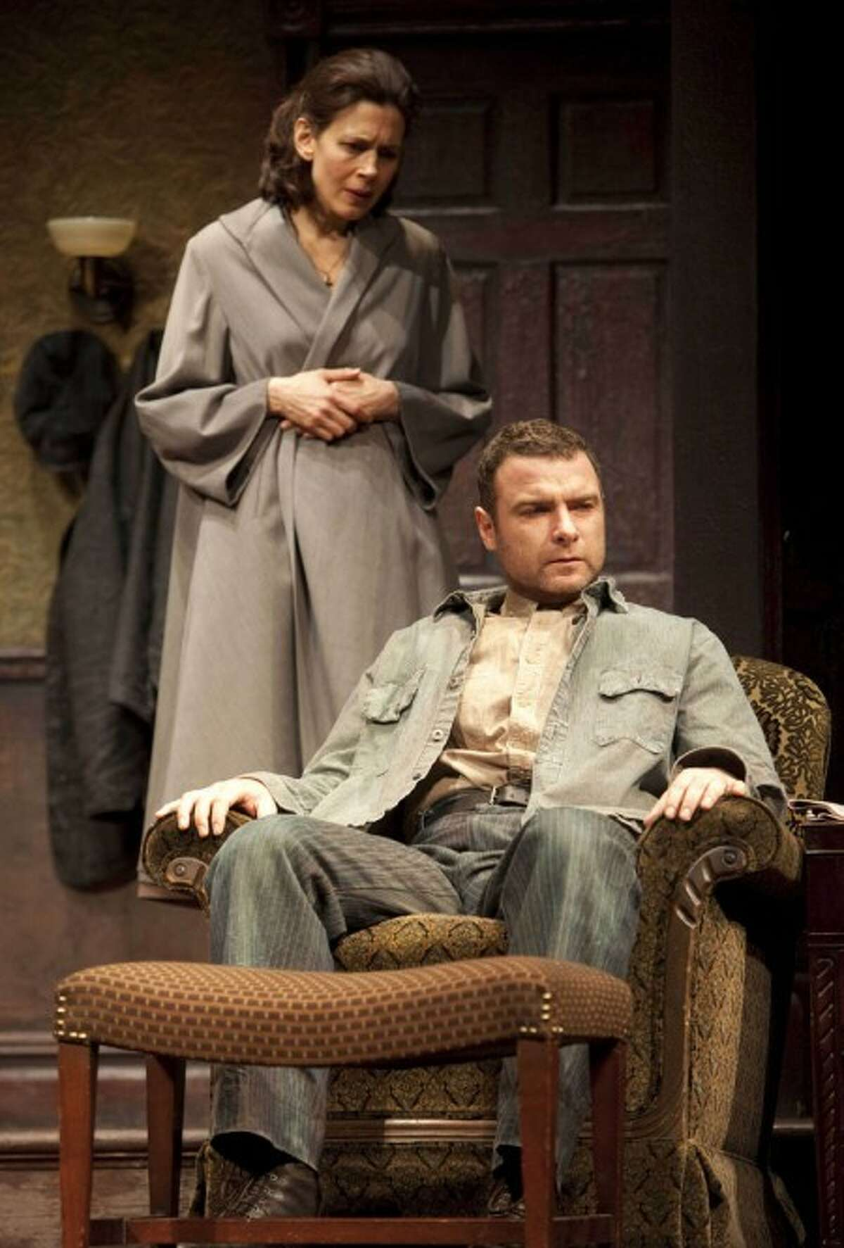 In this theater publicity image released by Boneau/Bryan-Brown, Jessica Hecht, left, and Liev Schreiber are shwon in a scene from the Broadway revival of Arthur Miller''s