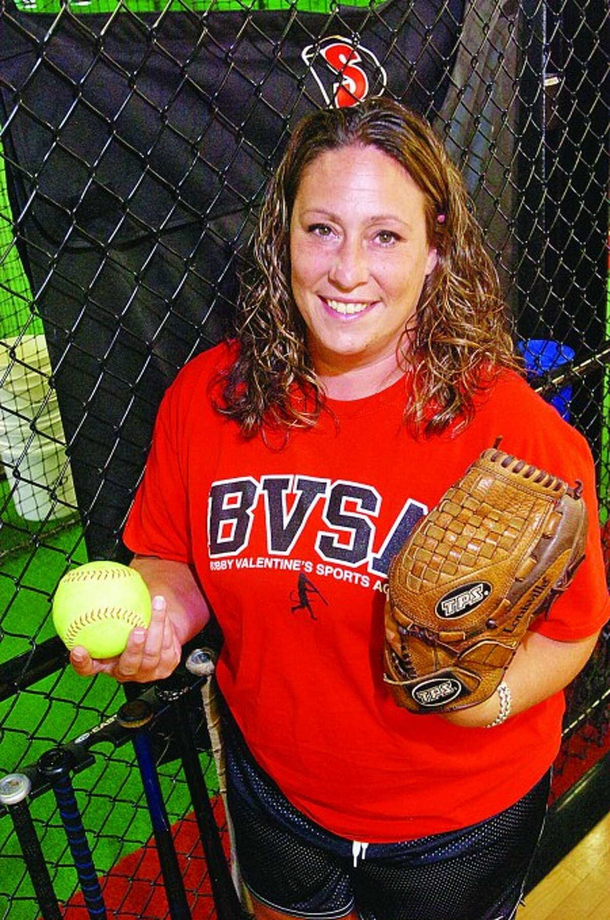 Danielle Simoneau, former standout pitcher for Westhill who is being hired as the new head coach of the New Canaan High School softball team. Hour photo / Erik Trautmann