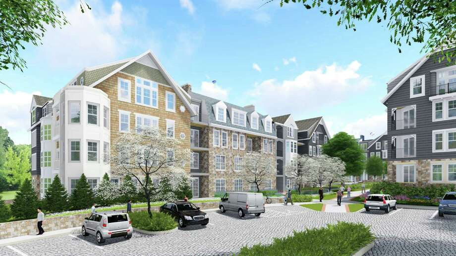 Architectural rendering of the proposed redevelopment as it would look from Maple Street. Photo: Contributed / Hearst Connecticut Media / New Canaan News