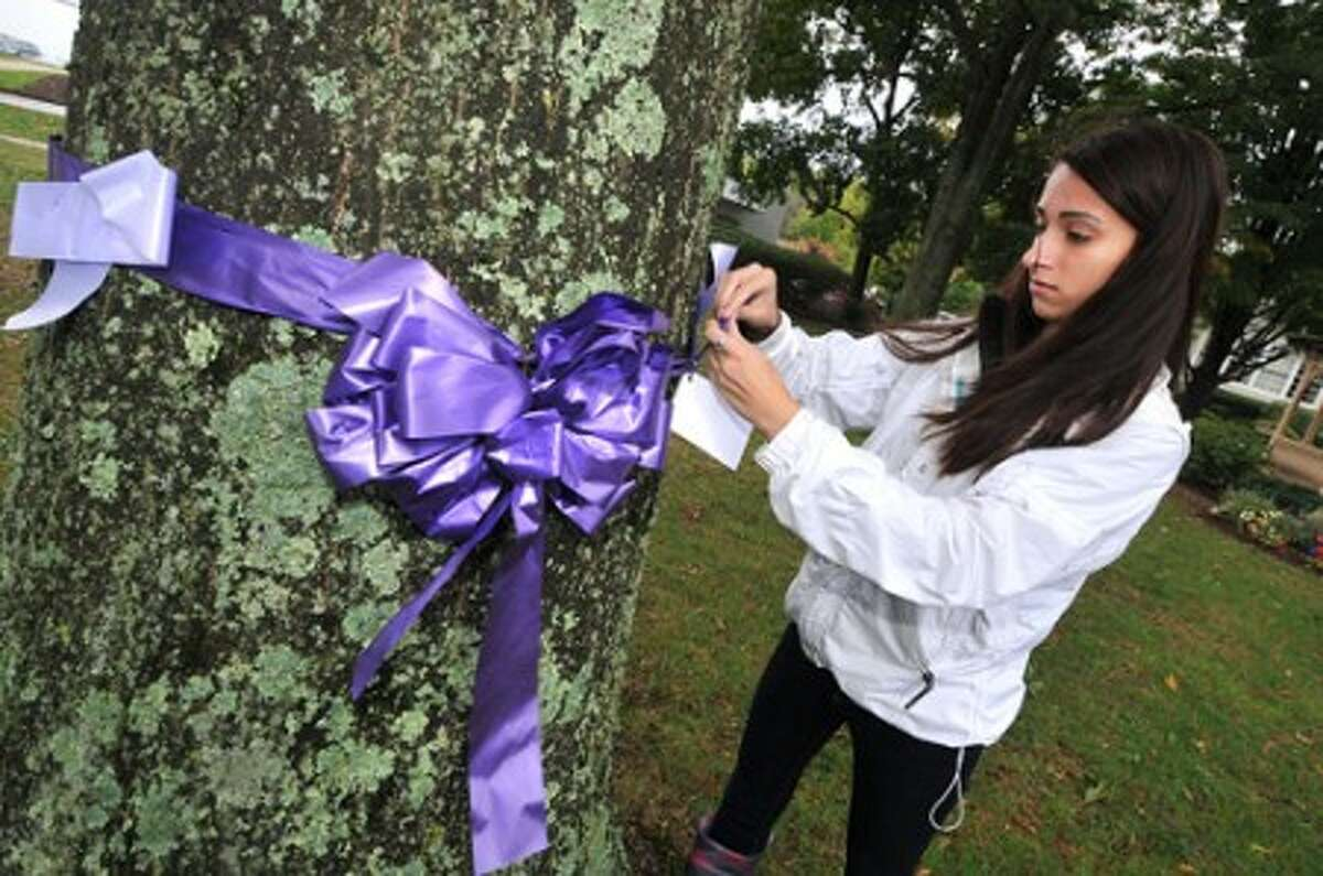 Photo/Alex von Kleydorff. Wilton high School senior Nikki Rouleau along with others from Teen Peaceworks ties a purple ribbon around a tree in Wilton Center, one of about 100 to mark National Domestic Violence Awareness month.
